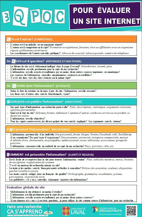 Comment valuer l 39 information sur internet site du - Comment faire une grille d evaluation ...